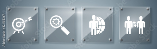 Set Project team base, Globe and people, Magnifying glass and gear and Target with arrow Wallpaper Mural