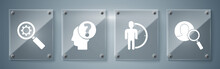 Set Magnifying Glass For Search A People, Time Management, Human Head With Question Mark And Magnifying Glass And Gear. Square Glass Panels. Vector