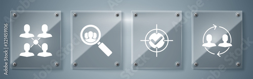 Photo Set Human resources, Target and check mark, Magnifying glass for search a people and Project team base