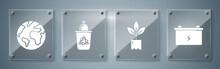 Set Car Battery, Plant In Bottle, Recycle Bin With Recycle Symbol And Earth Globe. Square Glass Panels. Vector