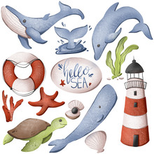 Digital Illustration Cute Texture Set Hello Sea, Sperm Whale, Whale, Lighthouse, Turtle, Life Buoy. Print For Stickers, Wrapping Paper, Baby Fabrics, Cards, Banners, Web Design.
