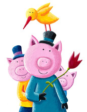 Three Cute Little Pigs With Hats And Tulip