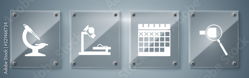 Photo Set Magnifying glass, Calendar, Microscope and Microscope