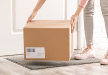 Woman Taking Parcel, Closeup View. Delivery Service