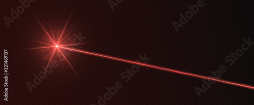 Red laser beam light effect isolated on transparent background Fototapet