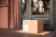Leinwanddruck Bild - Delivered parcel on door mat near entrance