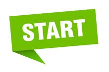 Start Speech Bubble. Start Ribbon Sign. Start Banner