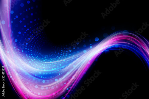 Futuristic  technology background. Dots and waves light tech design #321473327