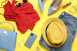 Leinwanddruck Bild - Flat lay composition with smartphone and stylish clothes on yellow background