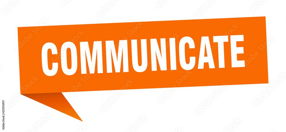Fototapeta communicate speech bubble. communicate ribbon sign. communicate banner
