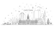 South Africa, Cape Town Architecture Line Skyline Illustration