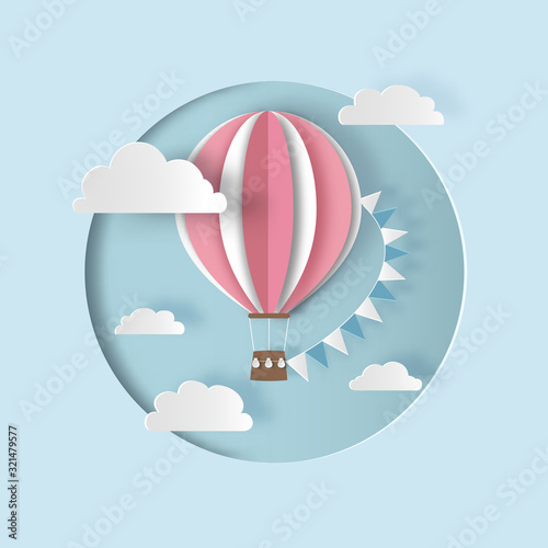Hot air balloon with bunting flags and clouds Poster Mural XXL