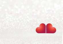 White Texture Background With Glittering Sparkles And Two Red Hearts. Festive Glitter Background.