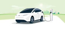 Electric Car On Charging Station With Green City Street Skyline. Battery EV Vehicle Plugged And Getting Electricity From Renewable Power Generations Solar Panel, Wind Turbine. Vehicle Being Charged.