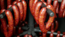 Sausage Red Smokehouse Smoked On Beech Wood Pig Slaughter Traditional Czech Household Hangs, Sausage-meat, Smoked Meat, Ribs, Blood Sausage, Traditional Farm Farming Homemade