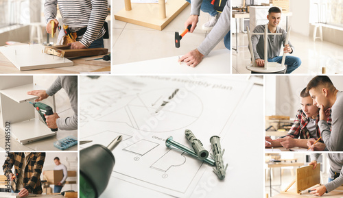 Photo Collage of photos with handymen assembling furniture in workshop