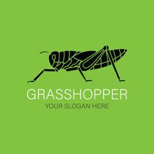 Grasshopper Silhouette Logo Vector