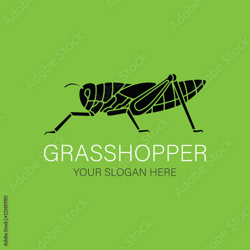 Photo Grasshopper silhouette Logo vector