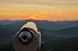 canvas print picture - Fernrohr Aussichtsturm Hohe Wand bei Sonnenuntergang