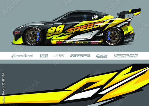 Fototapeta Race car livery design vector. Graphic abstract stripe racing background designs for vinyl wrap, race car, cargo van, pickup truck and adventure. Full vector Eps 10. obraz