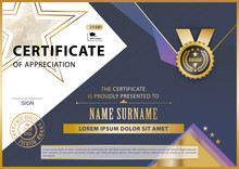 Official White Certificate With Gold Blue Lilac Triangles, Line . Business Modern Design. Black Emblem.