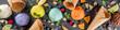 Leinwanddruck Bild - Colorful pastel ice cream with waffle cones