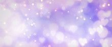 Abstract Purple And Lilac Background With Hearts - Concept Mother's Day, Valentine's Day, Birthday, Christmas