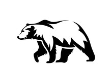 Bear Silhouette Logo Vector Animals Illustration,Bear Icon Modern Symbol For Graphic And Web Design