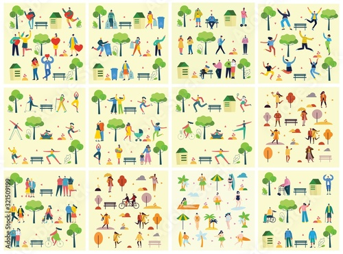 Photo Vector illustration backgrounds in flat design of group peopledoing different ac