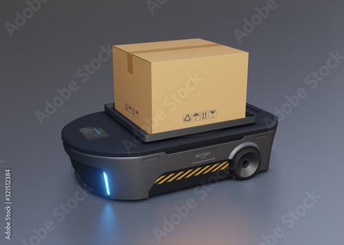 Automated guided vehicle loading boxes. 3D illustration Canvas Print
