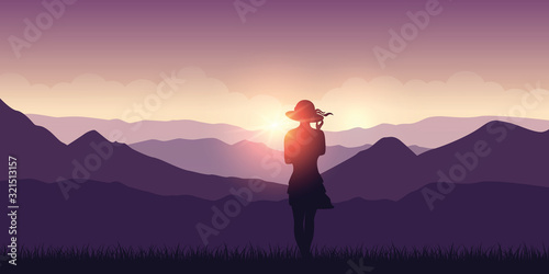 Fotomural cute young girl at sunset in the purple mountains vector illustration EPS10