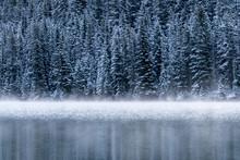 Landscape Morning Fog On The Lake Of Two Jack Lake