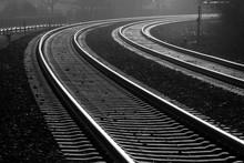 Schienen Gleise Kurve Zweiglei...