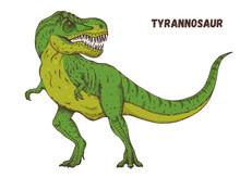 Tyrannosaur Dinosaur Hand Drawn. Vector Illustration. Carnivorous Dinosaur