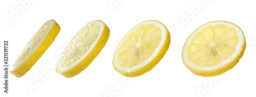 Set slice lemon yellow isolated on white background with clipping path
