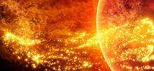 Science Background - Solar Activity In Space. Solar Surface With Solar Flares, Burning Of The Sun. Global Warming. Vector. Eps10