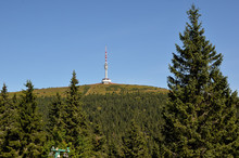 Television Tower On The Hill Praded In Czech Republic From Distance