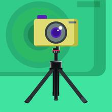 Camera On A Mini Tripod