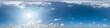Leinwandbild Motiv Nahtloses Panorama mit weiß-blauem Himmel 360-Grad-Ansicht mit schönen Wolken zur Verwendung in 3D-Grafiken als Himmelskuppel oder zur Nachbearbeitung von Drohnenaufnahmen