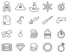 Pirate Icons Black & White Thi...