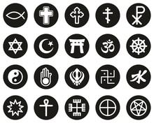 Religion Symbols Icons White On Black Flat Design Circle Set Big