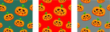 Halloween Poster Template With Scary Cemetery And Zombie Background With Seamless Pattern Of A Pumpkins