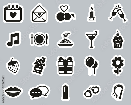 Romantic Or Courting Icons Black & White Sticker Set Big