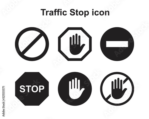 Cuadros en Lienzo Traffic Stop icon template black color editable