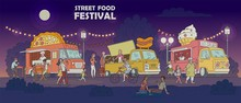 Street Food Festival Night Scene With Trucks And People Vector Illustration.