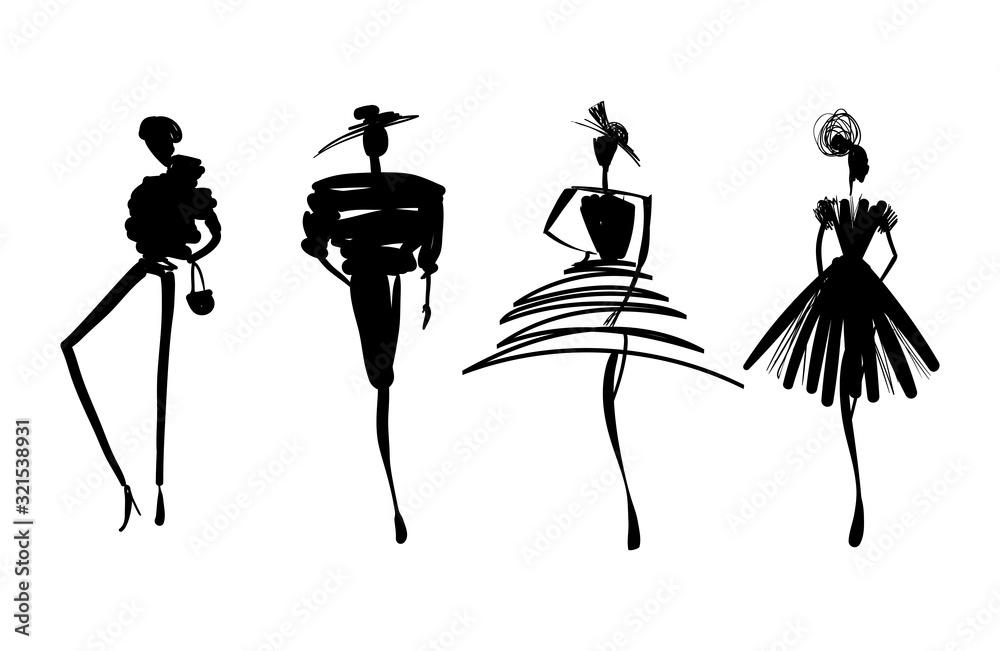 Fototapeta Fashion models sketch hand silhouette pop art