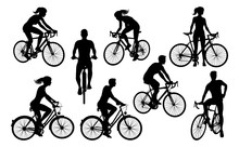 A Set Of Bicycle Cyclists Ridi...