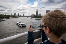 UK, London, Boy Photographing ...