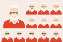 Handsome Senior Man With Different Facial Expressions Set Vector Illustration Isolated