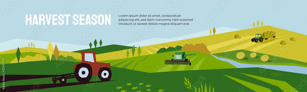 Fototapeta Harvest season and agriculture concept. Farm landscape, panoramic scenery of countryside in autumn. Vector illustration of tractors, plowing land, combine harvester and hayfield with haystack rolls.